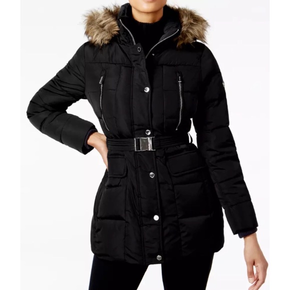 450e4f3d8f Michael Kors Hooded Faux fur trim Down jacket coat